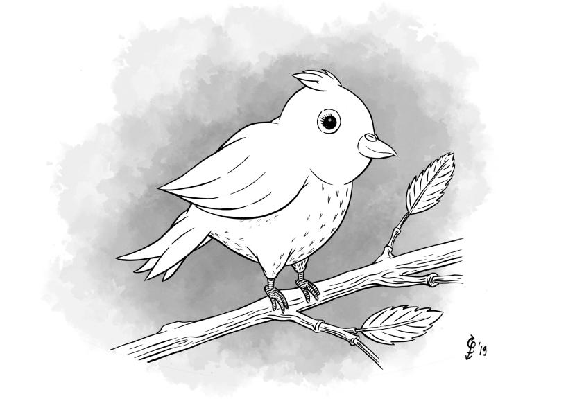 kinderboeken portfolio afbeelding van een vogeltje op een takje