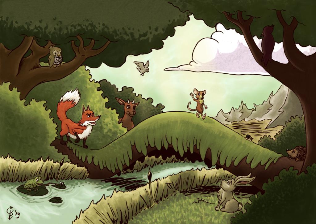 kinderboeken portfolio afbeelding van een Muis die op avontuur gaat