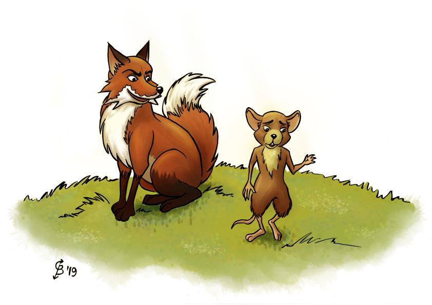kinderboeken portfolio afbeelding van een vos en een muis praten met elkaar