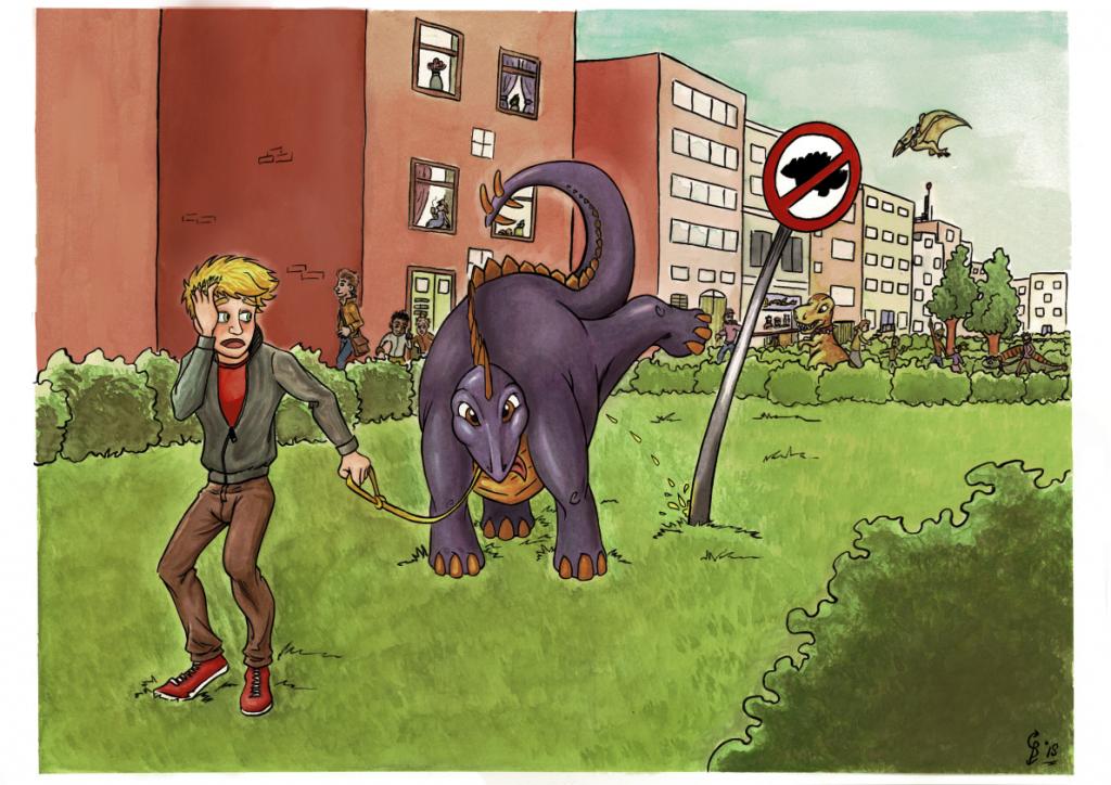 kinderboeken portfolio afbeelding van een rebelse stegosaurus