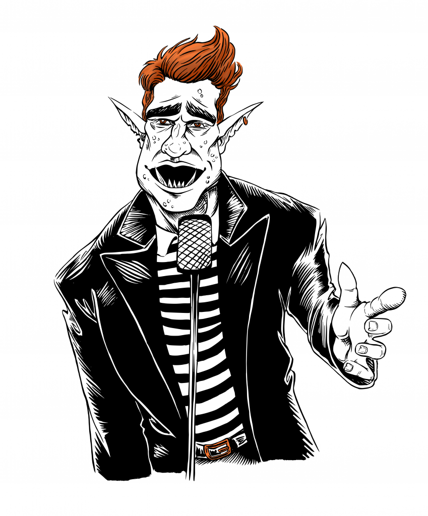 ink drawing of a troll singing never gonna give u up